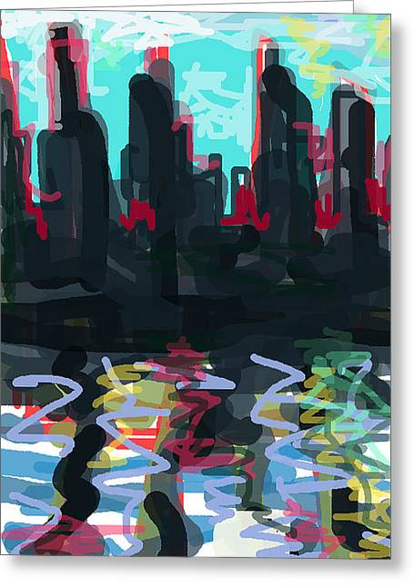 Industrial City On A River  Greeting Card by Paul Sutcliffe