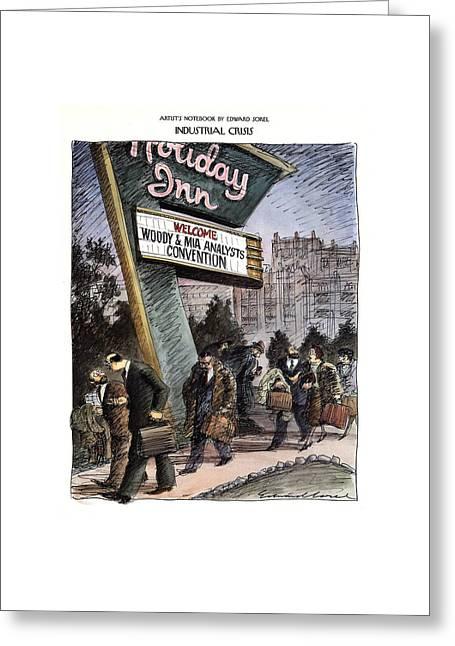 Industrial Crisis Greeting Card by Edward Sorel