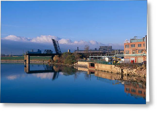 Rogue Greeting Cards - Industrial Landscape Along Rogue River Greeting Card by Panoramic Images