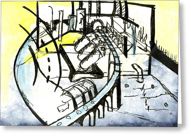 Industrial Landscape Greeting Card by Seb Mcnulty