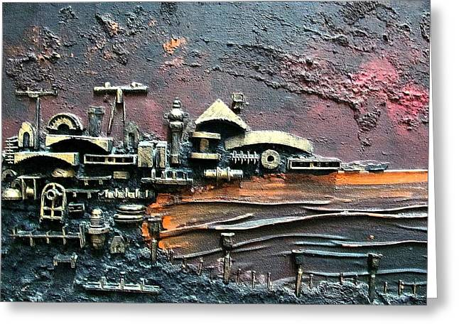 Industrial Port-part 1 By Rafi Talby Greeting Card by Rafi Talby