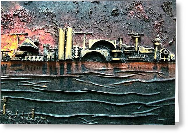 Industrial Port-part 2 By Rafi Talby Greeting Card by Rafi Talby