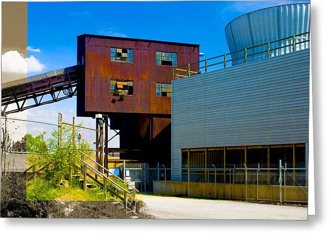 Industrial Power Plant Architectural Landscape Greeting Card
