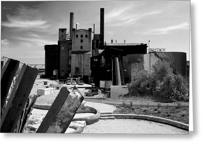 Industrial Power Plant Landscape Smokestacks Greeting Card