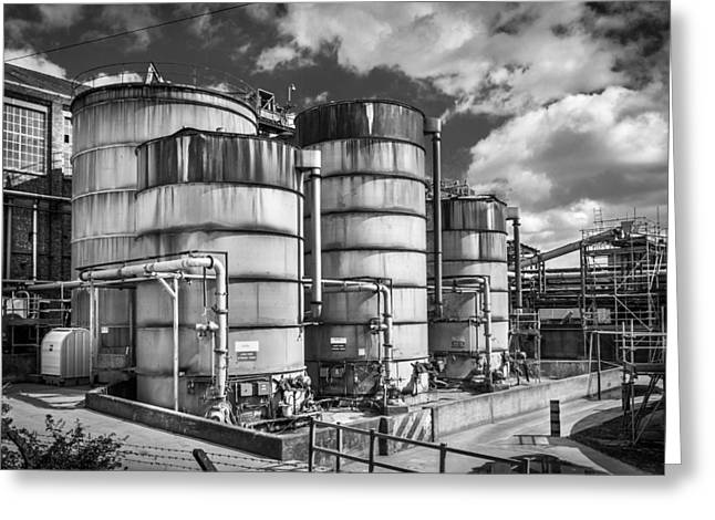 Industrial Silos. Greeting Card by Gary Gillette