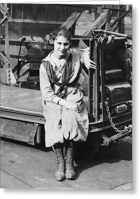 Industrial Truck Operator Greeting Card by Hagley Museum And Archive