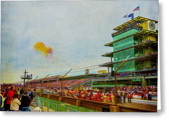 Indy 500 May 2013 Race Day Start Balloons Greeting Card by David Haskett