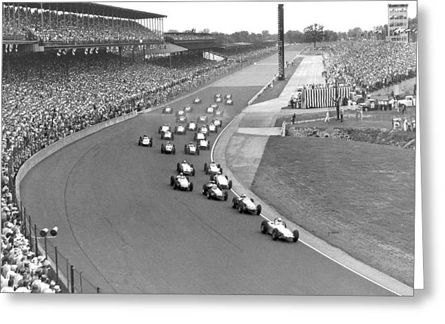 Indy 500 Race Start Greeting Card by Underwood Archives