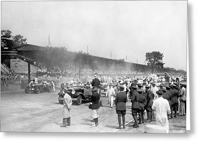 Indy 500 Race Greeting Card by Underwood Archives
