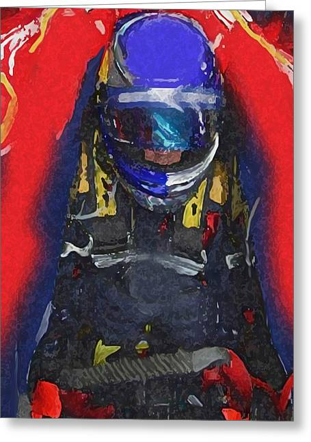 Indy Car Pilot Greeting Card by Dennis Buckman