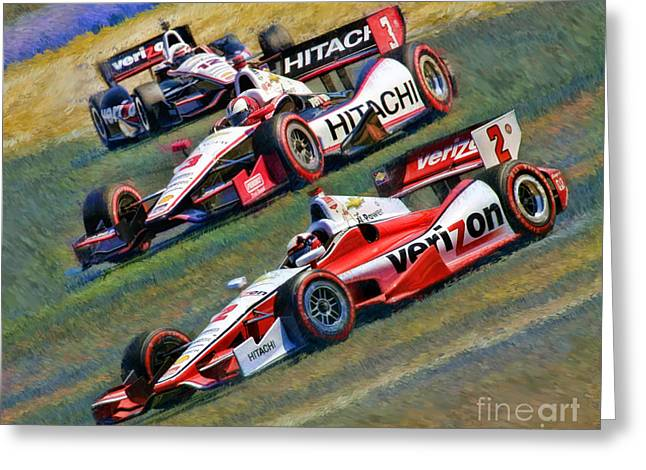Indy Car's Penske Team Juan Montoya Helio Castroneves Will Power   Greeting Card by Blake Richards