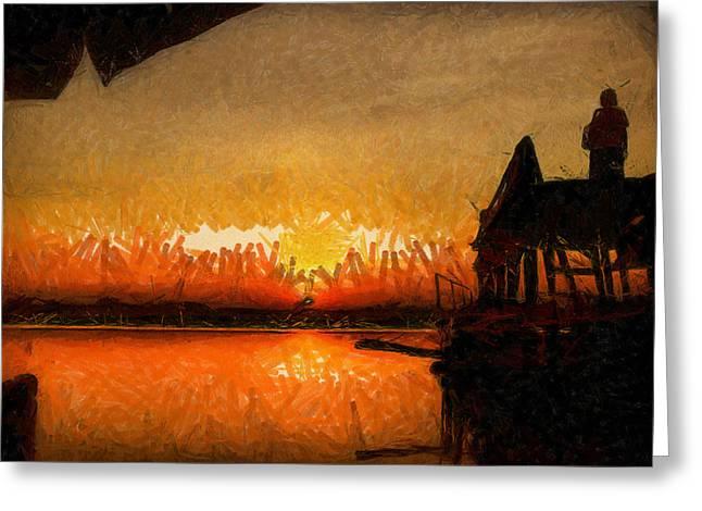 Infinite Oz Sun Set  Greeting Card by Teara Na