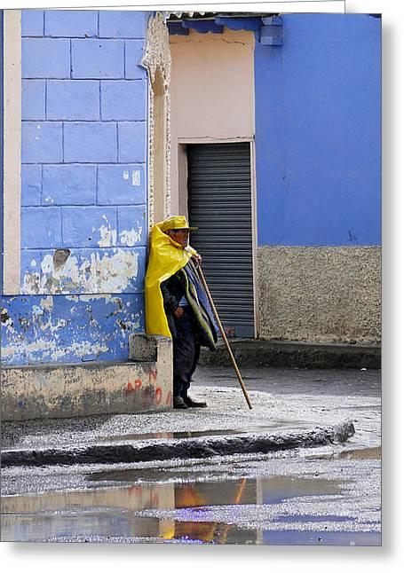 Information Man In Penipe Ecuador Greeting Card by Al Bourassa