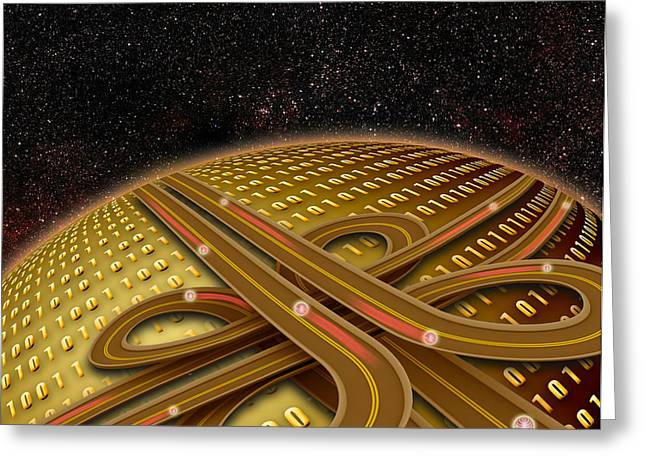 Information Superhighway Greeting Card by Mike Agliolo