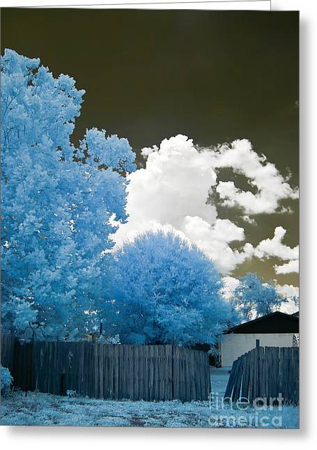 Infrared Broken Fence Greeting Card