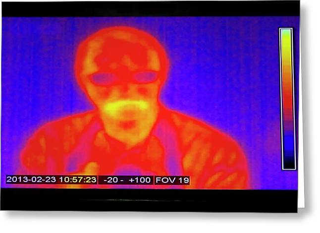 Infrared Man Greeting Card by Mark Williamson