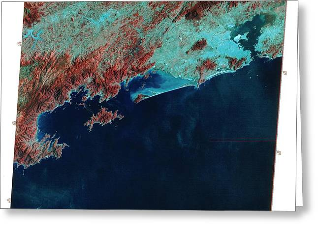 Infrared Satellite Image Of Rio De Janeiro Greeting Card by Mda Information Systems/science Photo Library