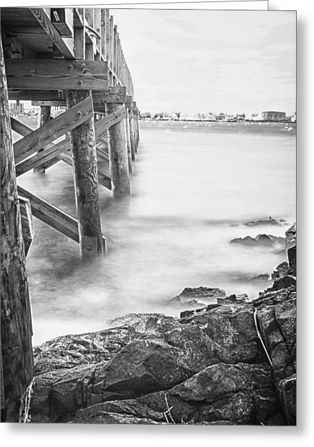 Greeting Card featuring the photograph Infrared View Of Stormy Waves At Stramsky Wharf by Jeff Folger