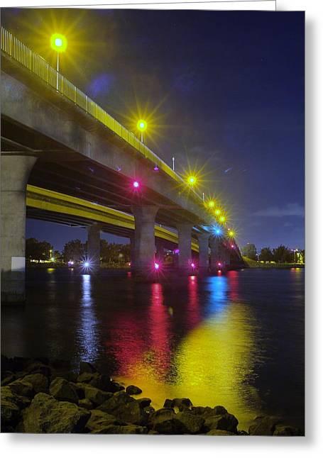 Ingraham Street Bridge At Night Greeting Card