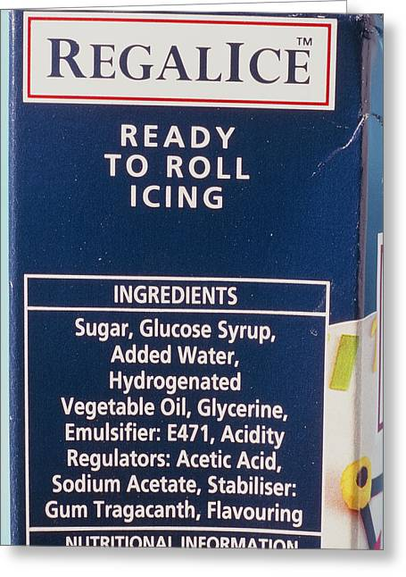 Ingredients Label On Packet Of Ready-made Icing Greeting Card