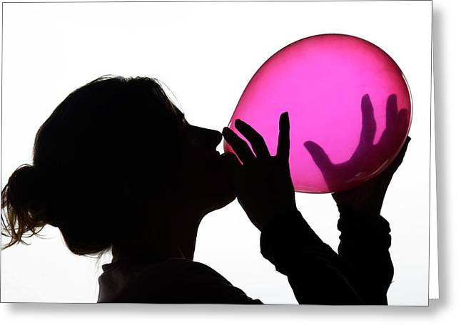 Inhaling Nitrous Oxide From A Balloon Greeting Card
