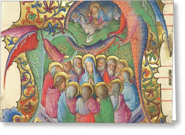 Initial A  Pentecost Attributed To Stefano Da Verona Greeting Card