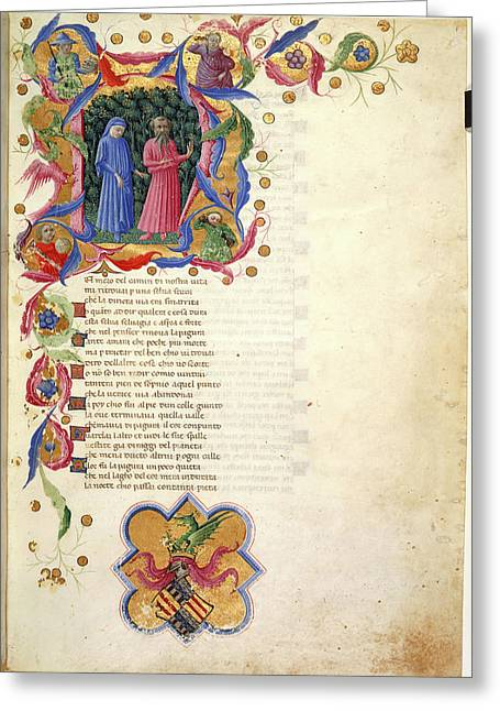 Initial 'n'; Dante And Virgil Greeting Card by British Library