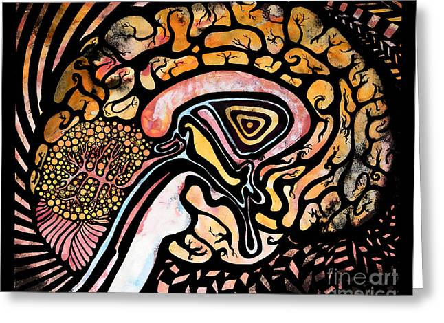 Clever Mixed Media Greeting Cards - Ink Brain Greeting Card by Beth Snow