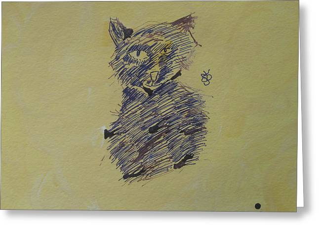 Greeting Card featuring the drawing Ink Cat by AJ Brown
