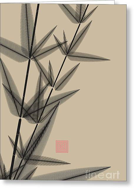 Ink Style Bamboo Illustration In Black Greeting Card
