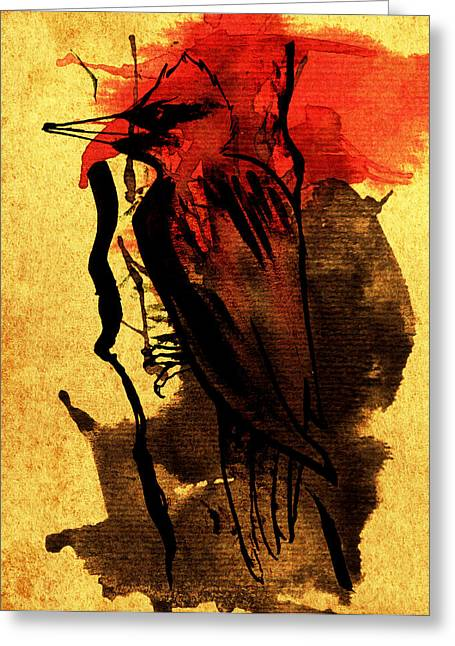 Ink Woodpecker Greeting Card by Francisca Fernandez