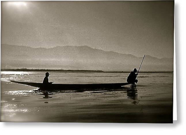 Inle Fishermen Greeting Card by Kim Pippinger