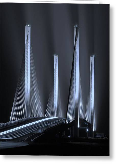 Inlet Bridge Light Trails In Cyan Greeting Card