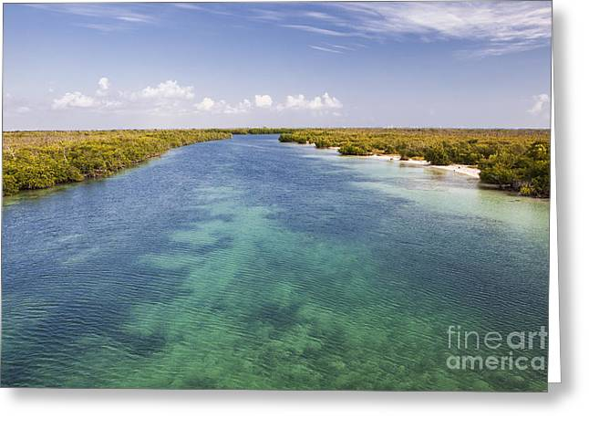 Inlet Leading To Caribbean Ocean Greeting Card