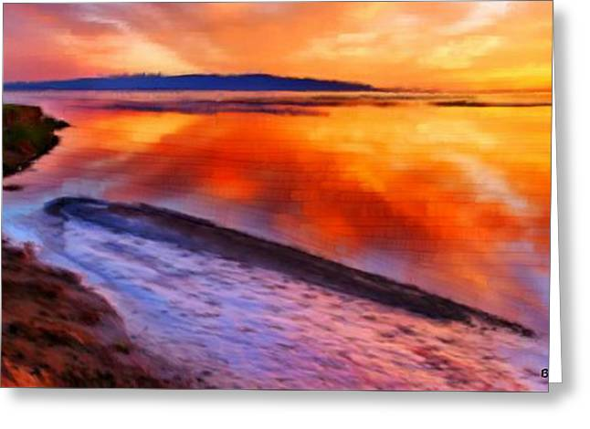 Greeting Card featuring the painting Inlet Sunset by Bruce Nutting