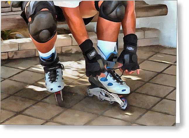 Inline Skater  Greeting Card by L Wright