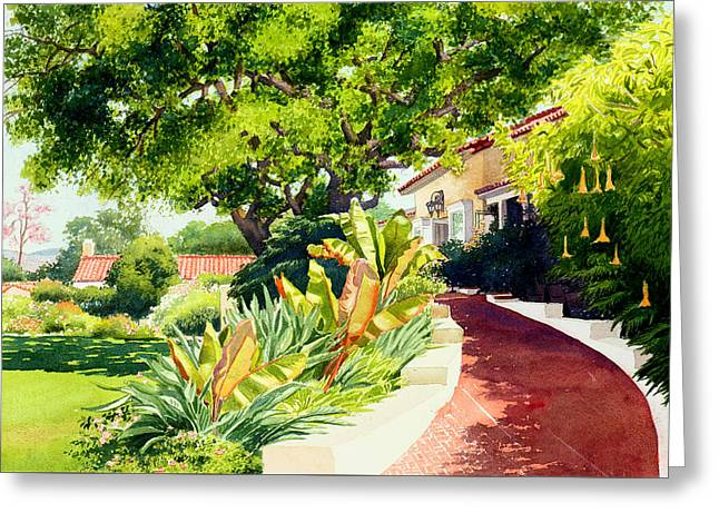 Inn At Rancho Santa Fe Greeting Card by Mary Helmreich