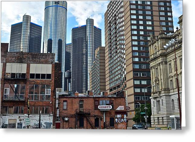 Inner City Detroit Greeting Card by Frozen in Time Fine Art Photography