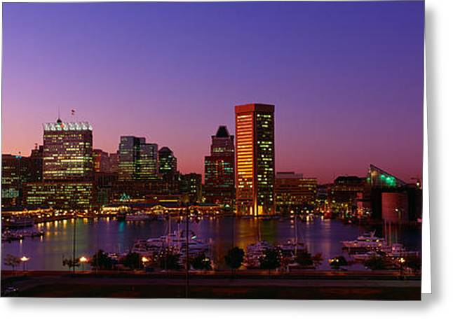 Inner Harbor, Baltimore, Sunset Greeting Card by Panoramic Images