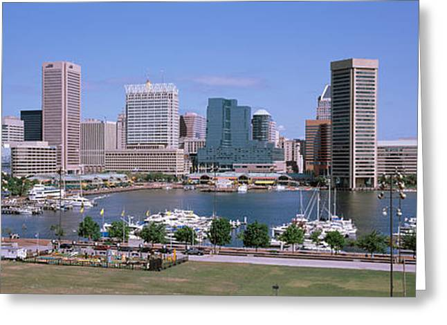 Inner Harbor Skyline Baltimore Md Usa Greeting Card by Panoramic Images