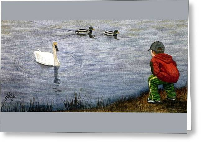 Greeting Card featuring the painting Innocent Curiosity by Gigi Dequanne