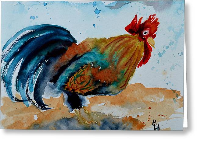 Innocent Rooster Greeting Card by Beverley Harper Tinsley