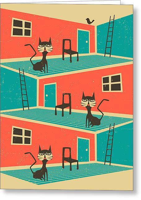 Inoor Cat Greeting Card by Jazzberry Blue