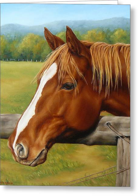 Greeting Card featuring the painting Inquisitive by Margaret Stockdale
