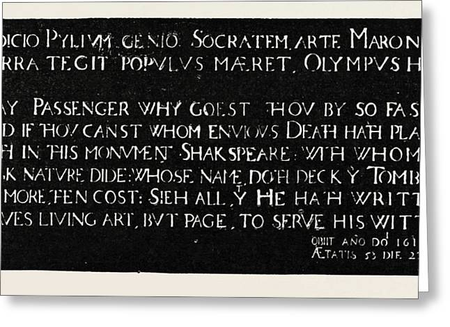 Inscription On The Memorial Tablet To Shakespeare Greeting Card by English School