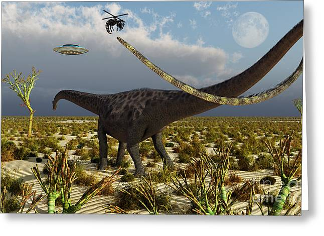 Insectoid Drones Attack A Diplodocus Greeting Card by Mark Stevenson