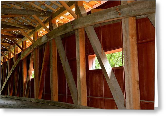 Inside A Covered Bridge 2 Greeting Card