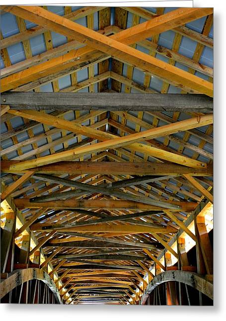 Inside A Covered Bridge 3 Greeting Card