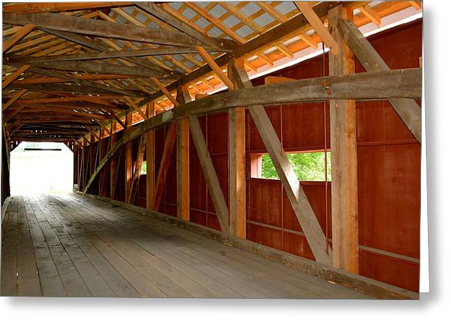 Inside A Covered Bridge Greeting Card