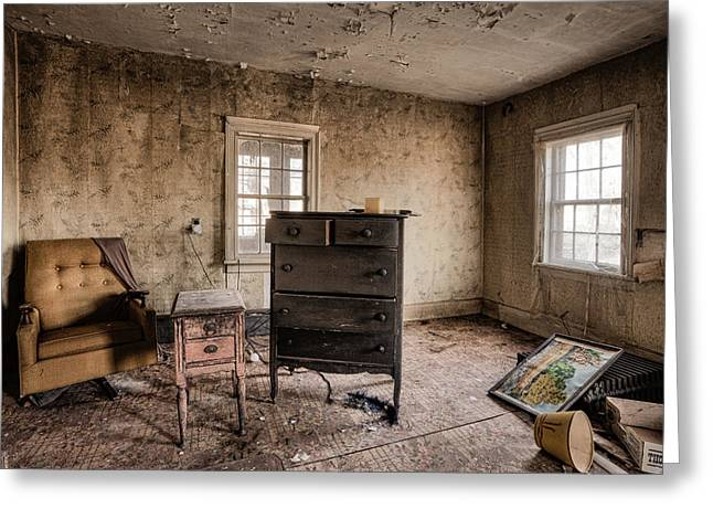Inside Abandoned House Photos - Old Room - Life Long Gone Greeting Card by Gary Heller